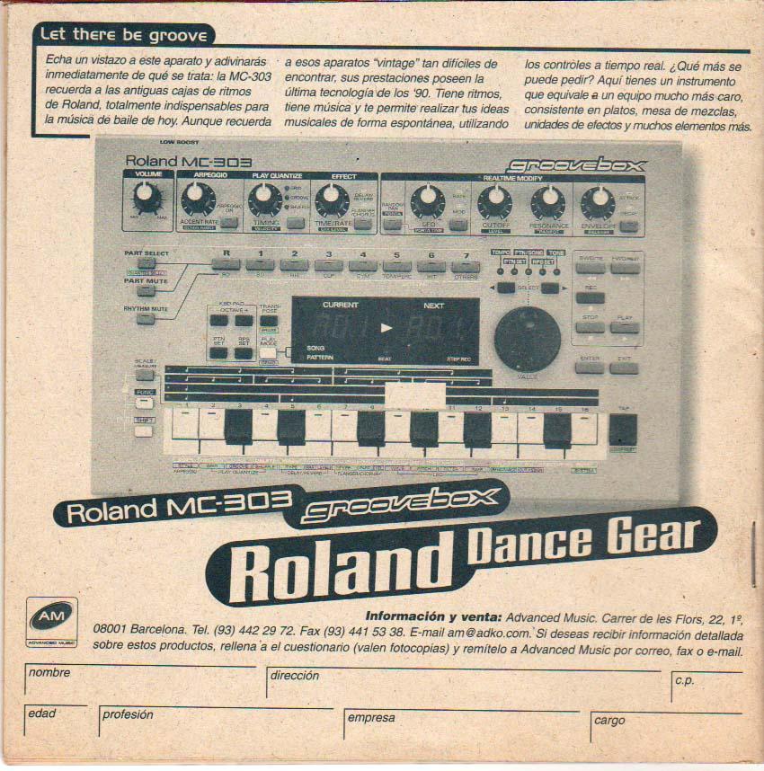 Anuncio en fanzine SELF de Roland MC-303